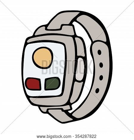 Fitness Tracker Smart Watch With Heart Rate Monitor, Cartoon Doodle Vector Style Design. Modern Styl