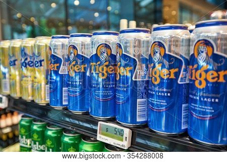 SINGAPORE - JANUARY 20, 2020: Tiger beer cans on display at Jasons Deli the Shoppes at Marina Bay Sands. Jasons Deli is a supermarket and delicatessen.