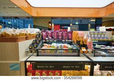 SINGAPORE - JANUARY 20, 2020: interior shot of Jasons Deli at the Shoppes at Marina Bay Sands. Jasons Deli is a supermarket and delicatessen.