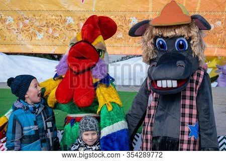 Novokuznetsk, Kemerovo Region, Russia. March 01, 2020. Russian Winter Holiday. Young Children Are Jo