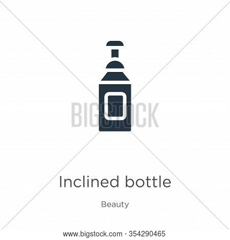 Inclined Bottle Icon Vector. Trendy Flat Inclined Bottle Icon From Beauty Collection Isolated On Whi