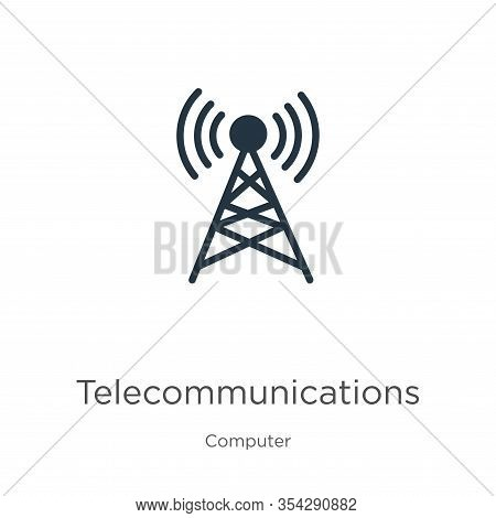 Telecommunications Icon Vector. Trendy Flat Telecommunications Icon From Computer Collection Isolate