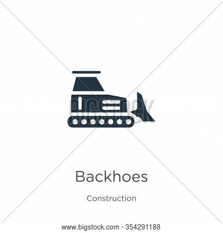 Backhoes Icon Vector. Trendy Flat Backhoes Icon From Construction Collection Isolated On White Backg