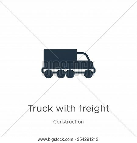 Truck With Freight Icon Vector. Trendy Flat Truck With Freight Icon From Construction Collection Iso