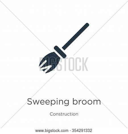 Sweeping Broom Icon Vector. Trendy Flat Sweeping Broom Icon From Construction Collection Isolated On