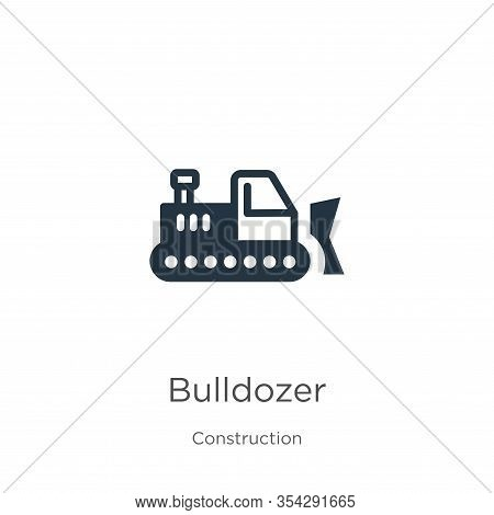 Bulldozer Icon Vector. Trendy Flat Bulldozer Icon From Construction Collection Isolated On White Bac