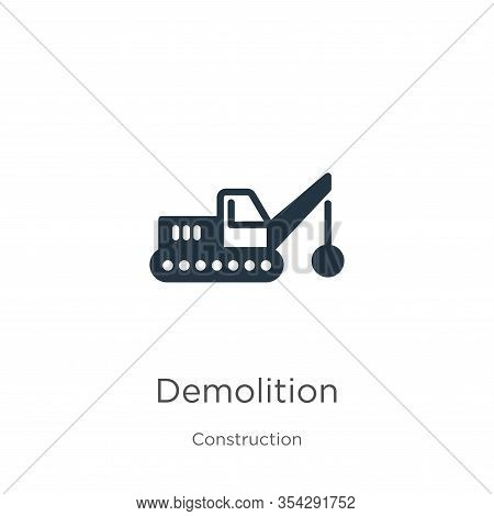 Demolition Icon Vector. Trendy Flat Demolition Icon From Construction Collection Isolated On White B