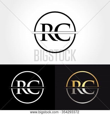 Abstract Letter Rc Logo Design Vector Template. Creative Gold And Silver Colors Rc Letter Logo Desig