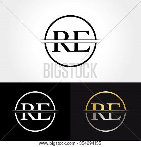 Abstract Letter Re Logo Design Vector Template. Creative Gold And Silver Colors Re Letter Logo Desig