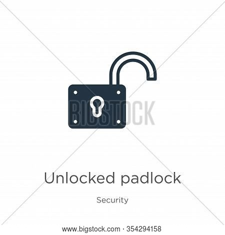 Unlocked Padlock Icon Vector. Trendy Flat Unlocked Padlock Icon From Security Collection Isolated On