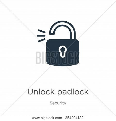 Unlock Padlock Icon Vector. Trendy Flat Unlock Padlock Icon From Security Collection Isolated On Whi