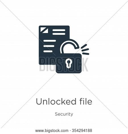 Unlocked File Icon Vector. Trendy Flat Unlocked File Icon From Security Collection Isolated On White