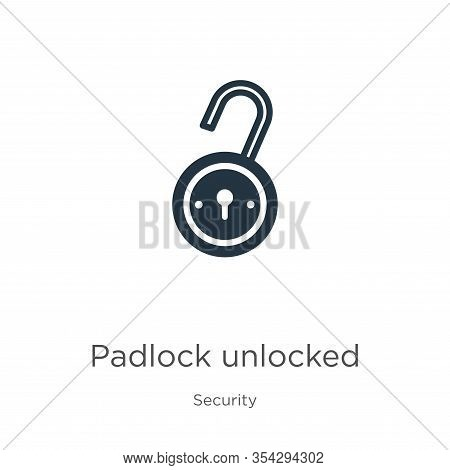 Padlock Unlocked Icon Vector. Trendy Flat Padlock Unlocked Icon From Security Collection Isolated On