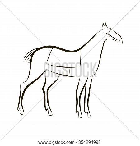 Contour Silhouette Of Graceful Horse. Black Vector Outline Horse. Idea For Design Stables, Farms, Ra