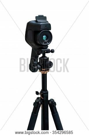 Thermal Imaging Cameras On Tripod Isolated On White Background. Path Selection Included.