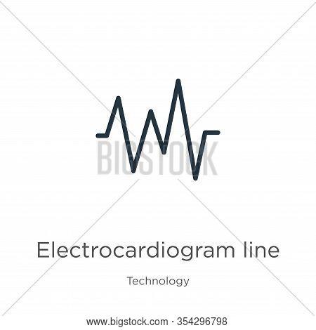 Electrocardiogram Line Icon Vector. Trendy Flat Electrocardiogram Line Icon From Technology Collecti