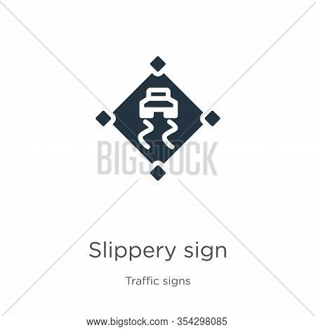 Slippery Sign Icon Vector. Trendy Flat Slippery Sign Icon From Traffic Signs Collection Isolated On