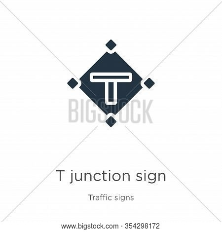 T Junction Sign Icon Vector. Trendy Flat T Junction Sign Icon From Traffic Signs Collection Isolated