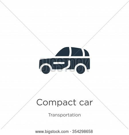 Compact Car Icon Vector. Trendy Flat Compact Car Icon From Transportation Collection Isolated On Whi