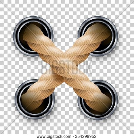 Cross Ropes Or Strings With Metallic Holes Vector. Crossed Brown Looped Ropes Or Fiber. Twisted And