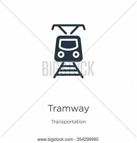 Tramway Icon Vector. Trendy Flat Tramway Icon From Transportation Collection Isolated On White Backg