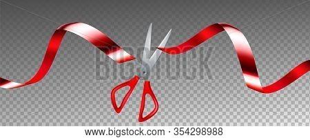 Scissors Cut Ribbon Business Grand Opening Vector. Ceremonial Metallic Chrome Scissors Cutting Red S