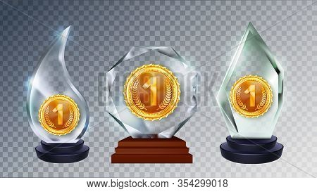 Glass Award Different Form Collection Set Vector. Shiny Acrylic Material Sport Trophy Award With Gol