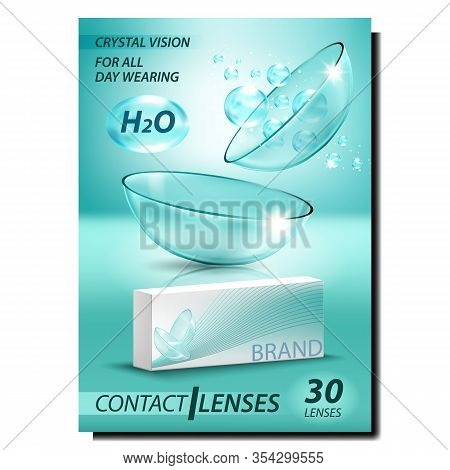 Contact Lenses Creative Advertising Poster Vector. Medical Optical Glass Lenses For Correct Vision,