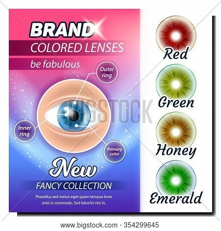 Colored Contact Lenses Advertising Poster Vector. Red And Green, Honey And Emerald Multicolor Lenses