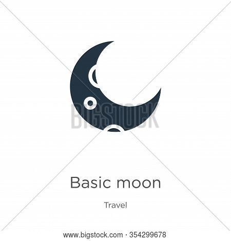 Basic Moon Icon Vector. Trendy Flat Basic Moon Icon From Travel Collection Isolated On White Backgro