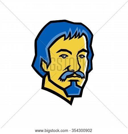 Mascot Icon Illustration Of Head Of Michelangelo Merisi Da Caravaggio, An Italian Painter From The E