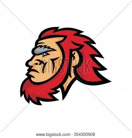Mascot Icon Illustration Of Head Of A Primitive Caveman, Cro-magnon Or Neanderthal, An Extinct Speci