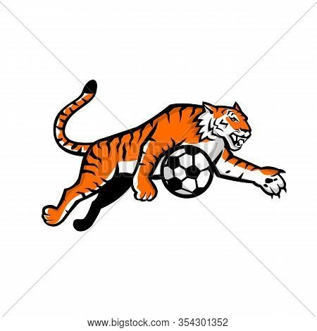Mascot Icon Illustration Of A Tiger Running, Jumping, Dribbling Soccer Football Ball Viewed From Sid