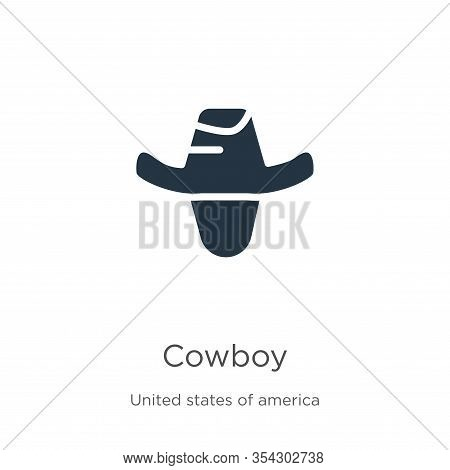 Cowboy Icon Vector. Trendy Flat Cowboy Icon From United States Collection Isolated On White Backgrou