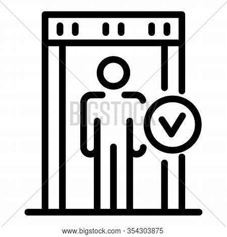 Pass Gate Scanner Icon. Outline Pass Gate Scanner Vector Icon For Web Design Isolated On White Backg