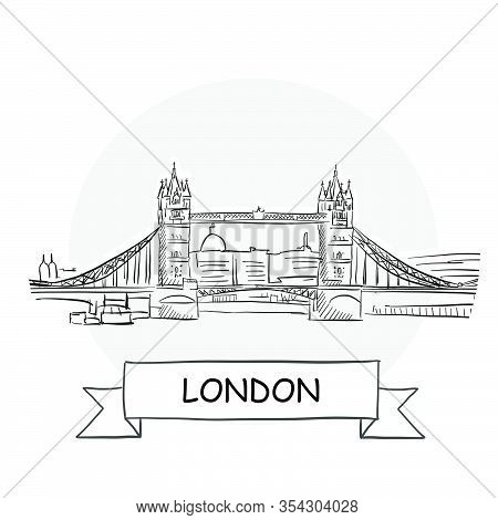 London Cityscape Vector Sign. Line Art Illustration With Ribbon And Title.