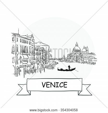 Venice Cityscape Vector Sign. Line Art Illustration With Ribbon And Title.