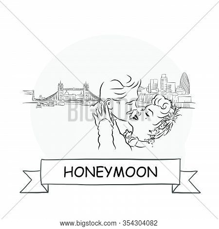 Honeymoon Cityscape Vector Sign. Line Art Illustration With Ribbon And Title.