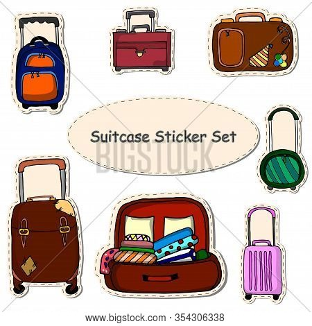 Various Suitcases, Suitcases, Luggage, Travel Bags. Set Of Hand Drawn Vector Stickers For Vacation.