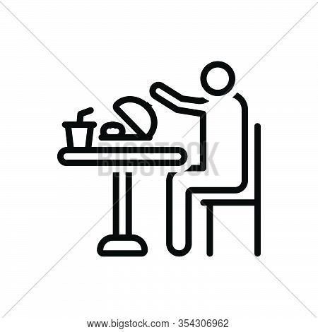 Black Line Icon For Eat Consume Swallow Feast-on Imbibe Lunch Junket Meal Food Table Person