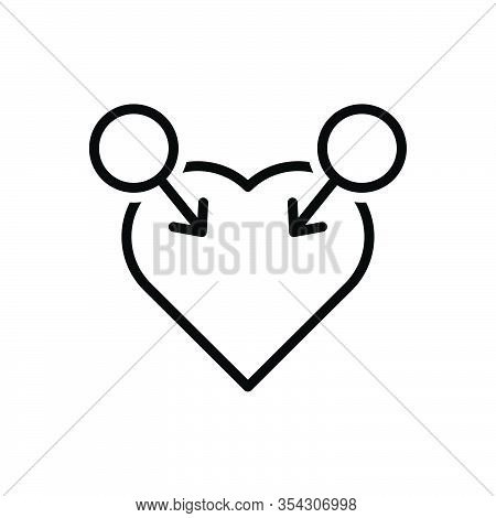 Black Line Icon For Gay Homosexual Lesbian Queer Masculine Unisex Gender Heart
