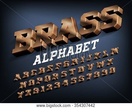 Brass Alphabet Font. 3d Metallic Letters And Numbers With Shadow. Stock Vector Typeset For Your Typo