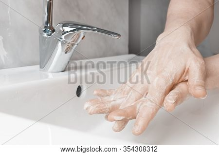 Effective Handwashing Techniques: Between The Fingers. Hand Washing Is Very Important To Avoid The R