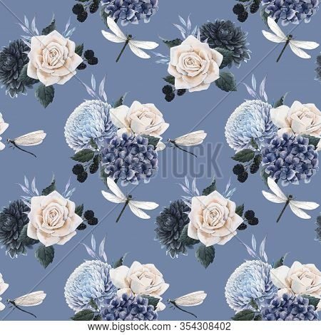 Beautiful Seamless Floral Pattern With Watercolor Blue Flowers, White Roses And Dragonflies . Stock