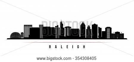 Raleigh  Skyline Horizontal Banner. Black And White Silhouette Of Raleigh, North Carolina. Vector Te