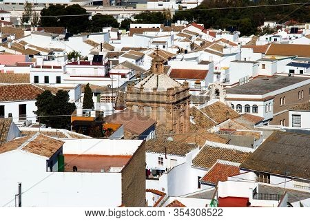 View Over Town Rooftops And The Carmen Church (iglesia Del Carmen), Estepa, Seville Province, Andalu