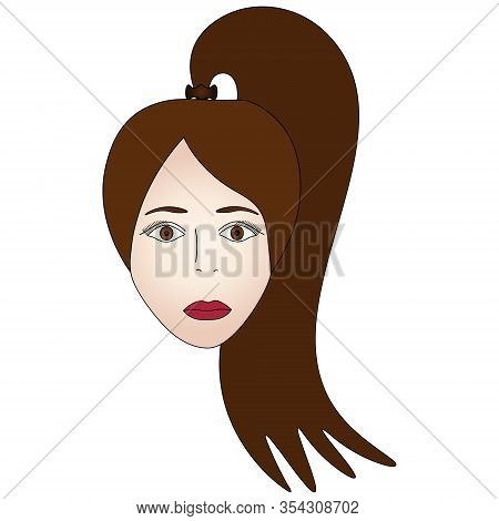 Color Vector Illustration Of The Face Of A Brunette Girl. Full Face. Long Hair Gathered In A Ponytai