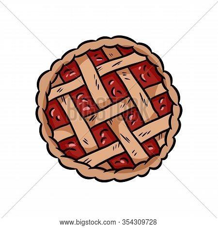 Hand Drawn Doodle Pie. Berry Pie Top View Tasty Bakery Media Glyph Vector Symbol