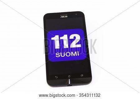 Kouvola, Finland - 23 January 2020: 112 Suomi App Logo On The Screen Of Smartphone Asus