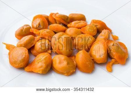 Traditional Thai Sweet Snack Cuisine: Golden Jackfruit Seeds, Mung Bean Marzipan And Egg Yolk Desser